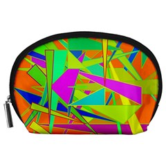 Background With Colorful Triangles Accessory Pouches (large)  by Simbadda