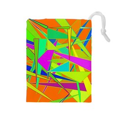 Background With Colorful Triangles Drawstring Pouches (large)  by Simbadda