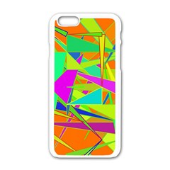 Background With Colorful Triangles Apple Iphone 6/6s White Enamel Case by Simbadda