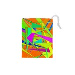 Background With Colorful Triangles Drawstring Pouches (XS)  Front