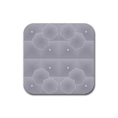Grid Squares And Rectangles Mirror Images Colors Rubber Square Coaster (4 Pack)  by Simbadda