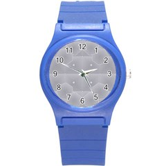 Grid Squares And Rectangles Mirror Images Colors Round Plastic Sport Watch (s) by Simbadda