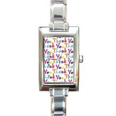 Wallpaper With The Words Thank You In Colorful Letters Rectangle Italian Charm Watch by Simbadda