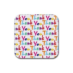 Wallpaper With The Words Thank You In Colorful Letters Rubber Square Coaster (4 Pack)  by Simbadda