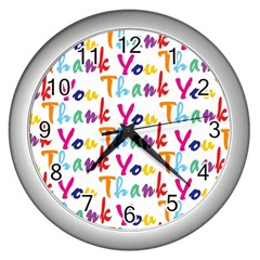 Wallpaper With The Words Thank You In Colorful Letters Wall Clocks (silver)  by Simbadda