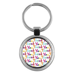 Wallpaper With The Words Thank You In Colorful Letters Key Chains (round)  by Simbadda