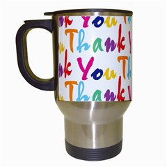 Wallpaper With The Words Thank You In Colorful Letters Travel Mugs (white) by Simbadda