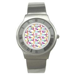 Wallpaper With The Words Thank You In Colorful Letters Stainless Steel Watch by Simbadda