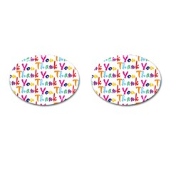 Wallpaper With The Words Thank You In Colorful Letters Cufflinks (oval) by Simbadda
