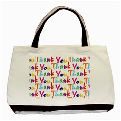 Wallpaper With The Words Thank You In Colorful Letters Basic Tote Bag by Simbadda