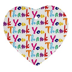 Wallpaper With The Words Thank You In Colorful Letters Heart Ornament (two Sides) by Simbadda