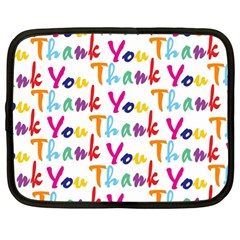 Wallpaper With The Words Thank You In Colorful Letters Netbook Case (large) by Simbadda