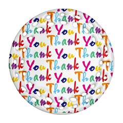 Wallpaper With The Words Thank You In Colorful Letters Round Filigree Ornament (two Sides) by Simbadda