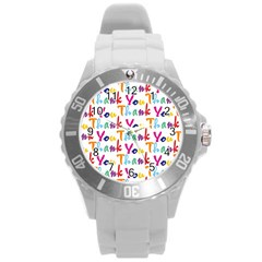 Wallpaper With The Words Thank You In Colorful Letters Round Plastic Sport Watch (l) by Simbadda