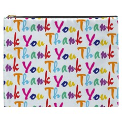 Wallpaper With The Words Thank You In Colorful Letters Cosmetic Bag (xxxl)  by Simbadda