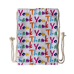 Wallpaper With The Words Thank You In Colorful Letters Drawstring Bag (small) by Simbadda