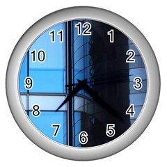 Modern Office Window Architecture Detail Wall Clocks (silver)  by Simbadda