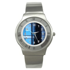Modern Office Window Architecture Detail Stainless Steel Watch by Simbadda