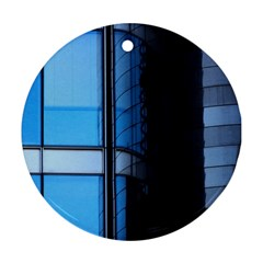 Modern Office Window Architecture Detail Round Ornament (two Sides) by Simbadda