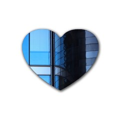 Modern Office Window Architecture Detail Heart Coaster (4 Pack)  by Simbadda