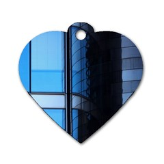 Modern Office Window Architecture Detail Dog Tag Heart (two Sides) by Simbadda