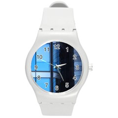 Modern Office Window Architecture Detail Round Plastic Sport Watch (m) by Simbadda