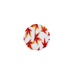 Colorful Autumn Leaves On White Background 1  Mini Buttons by Simbadda