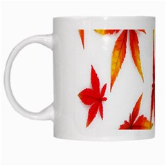Colorful Autumn Leaves On White Background White Mugs by Simbadda
