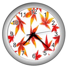 Colorful Autumn Leaves On White Background Wall Clocks (silver)  by Simbadda