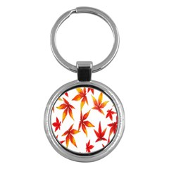 Colorful Autumn Leaves On White Background Key Chains (round)  by Simbadda