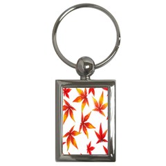 Colorful Autumn Leaves On White Background Key Chains (rectangle)  by Simbadda