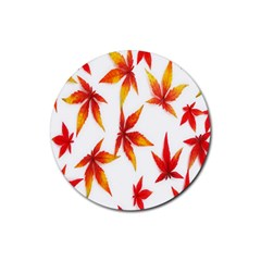 Colorful Autumn Leaves On White Background Rubber Coaster (round)  by Simbadda