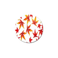 Colorful Autumn Leaves On White Background Golf Ball Marker (10 Pack) by Simbadda