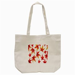 Colorful Autumn Leaves On White Background Tote Bag (cream) by Simbadda