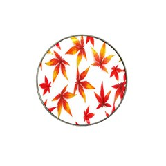 Colorful Autumn Leaves On White Background Hat Clip Ball Marker (10 Pack) by Simbadda
