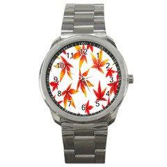 Colorful Autumn Leaves On White Background Sport Metal Watch by Simbadda