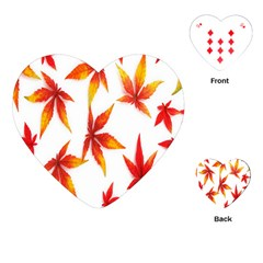 Colorful Autumn Leaves On White Background Playing Cards (heart)  by Simbadda