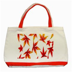 Colorful Autumn Leaves On White Background Classic Tote Bag (red) by Simbadda