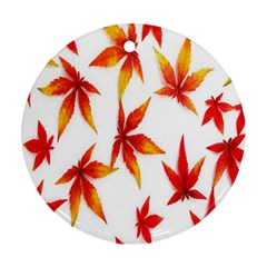 Colorful Autumn Leaves On White Background Round Ornament (two Sides) by Simbadda