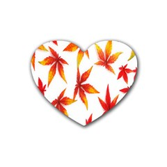 Colorful Autumn Leaves On White Background Heart Coaster (4 Pack)  by Simbadda