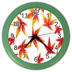 Colorful Autumn Leaves On White Background Color Wall Clocks by Simbadda