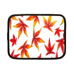 Colorful Autumn Leaves On White Background Netbook Case (small)  by Simbadda