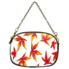 Colorful Autumn Leaves On White Background Chain Purses (two Sides)  by Simbadda