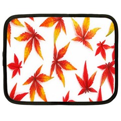 Colorful Autumn Leaves On White Background Netbook Case (xl)  by Simbadda