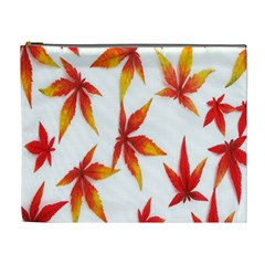 Colorful Autumn Leaves On White Background Cosmetic Bag (xl)