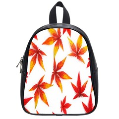 Colorful Autumn Leaves On White Background School Bags (small)  by Simbadda