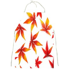 Colorful Autumn Leaves On White Background Full Print Aprons by Simbadda