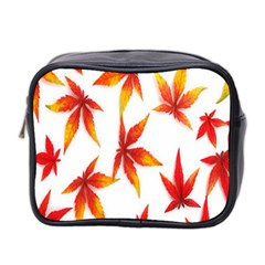 Colorful Autumn Leaves On White Background Mini Toiletries Bag 2 Side by Simbadda