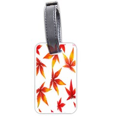 Colorful Autumn Leaves On White Background Luggage Tags (one Side)  by Simbadda