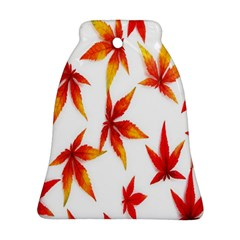 Colorful Autumn Leaves On White Background Bell Ornament (two Sides) by Simbadda